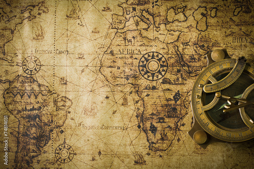 Plakat old map with compass