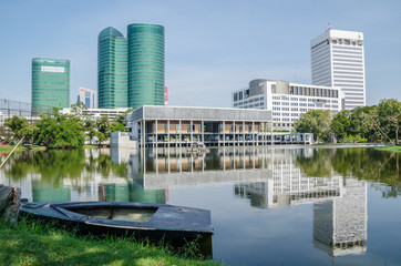 Buildings around the lake in Wachira Benjathat Park, Bangkok