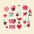 Valentine's day stylish icons design