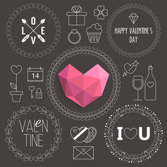 Valentine's day thin line icons and frames for design