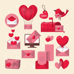 Valentine's day love letter and email icons design