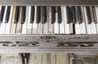 Vintage wooden piano key close up - 74815278