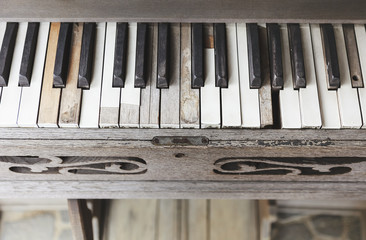 Vintage wooden piano key close up