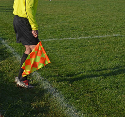 referee flag yellow orange colors, white lines, green lines