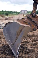 excavator machine on building work place