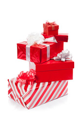 Group of red gift boxes for christmas