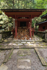 shinto shrine with wooden plaques