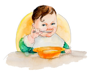 Baby eating. My first food.