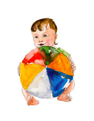 Baby play with ball. Big ball. Developing occupations