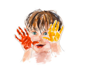 Baby paint. Prints of hands of the child.