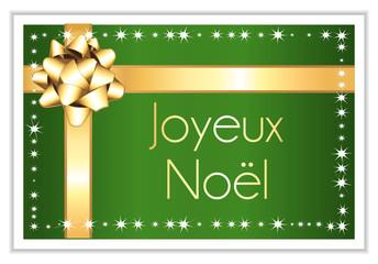 Joyeux noël. Carte verte et dorée.