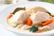 Poultry blanquette, white meat stew
