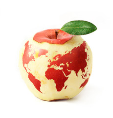red apple with red world map, isolated on white background