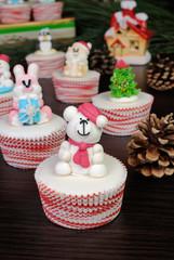 Sugar Christmas bear figurine on muffin
