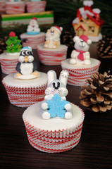 Sugar Christmas figurine hare on muffin