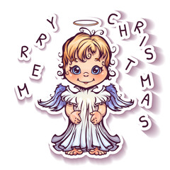 Vector illustration of cute angel with Merry Christmas text