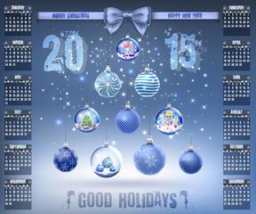 Calendar with christmas snow glass crystal balls on 2015 vector