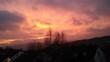 canvas print picture - Lila Wolken am morgentlichen Himmel
