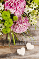 Bouquet of pink carnation, arabian star flower (ornithogalum ara
