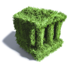 Kleine grüne Bank aus Gras