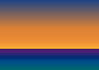 Vector blank seascape with sunset background