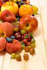 image of different fruits on a wooden board