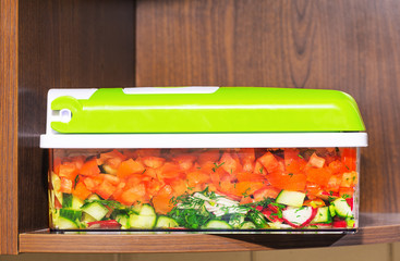 cut vegetables in container