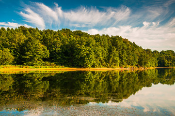 Evening light on the shore of Lake Marburg, in Codorus State Par