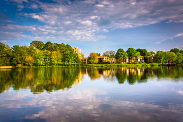 Evening reflections at Wilde Lake in Columbia, Maryland.