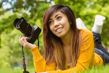 Female photographer at park