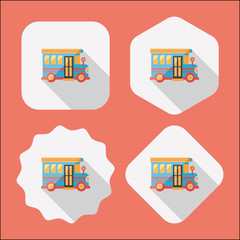 School Bus flat icon with long shadow,eps10
