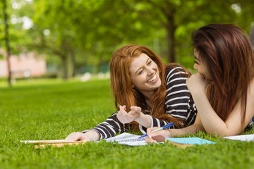 Cheerful female students with books in park