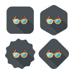 Glasses flat icon with long shadow,eps10