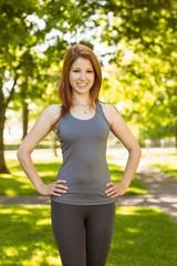 Portrait of a pretty athletic redhead
