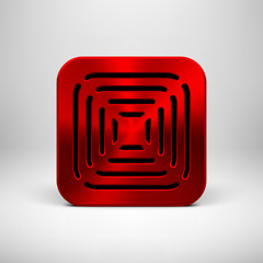 Red Abstract App Icon Button Template