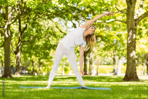 Peaceful blonde doing yoga in the park - 74821828