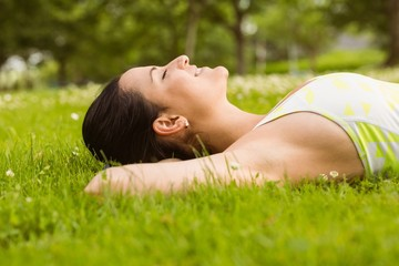 Peaceful fit brunette lying on the grass