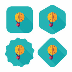 Basketball flat icon with long shadow,eps10