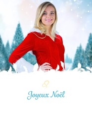 Composite image of pretty girl smiling in santa outfit