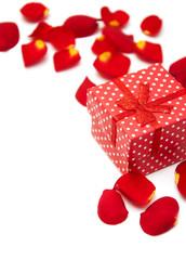 gift box and roses petals