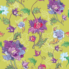 Vector floral pattern with chrysanthemum, peony, aster.
