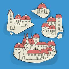 Cartoon hand drawing houses on islands, vector