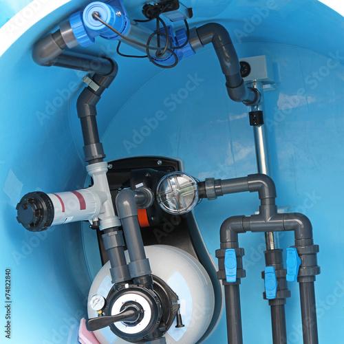Leinwanddruck Bild Swimming pool plumbing