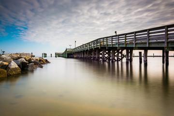 Fishing pier and jetty in Chesapeake Beach, Maryland.