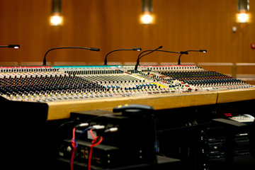 The work on the sound. sound engineering console.
