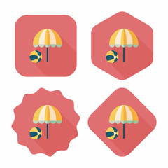 beach umbrella with ball flat icon with long shadow,eps10