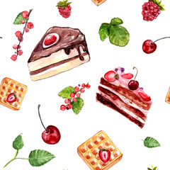 Desserts seamless vector pattern