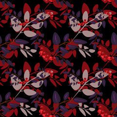 Seamless background pattern with colorful autumn leaves and rowa