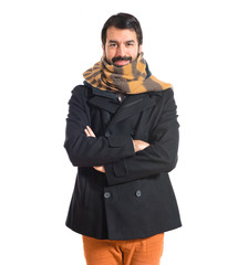 Man freezing over white