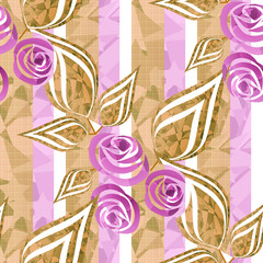 Flowers retro modern abstract seamless pattern texture striped b
